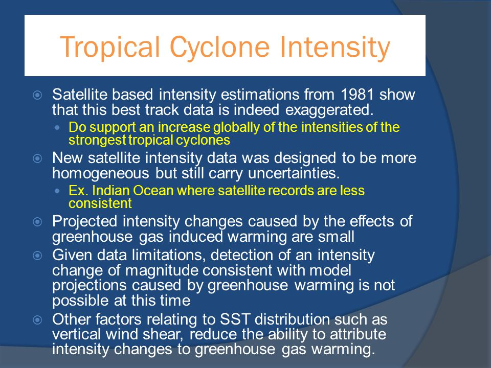 Tropical Cyclone Intensity  Satellite based intensity estimations from 1981 show that this best track data is indeed exaggerated. Do support an incre