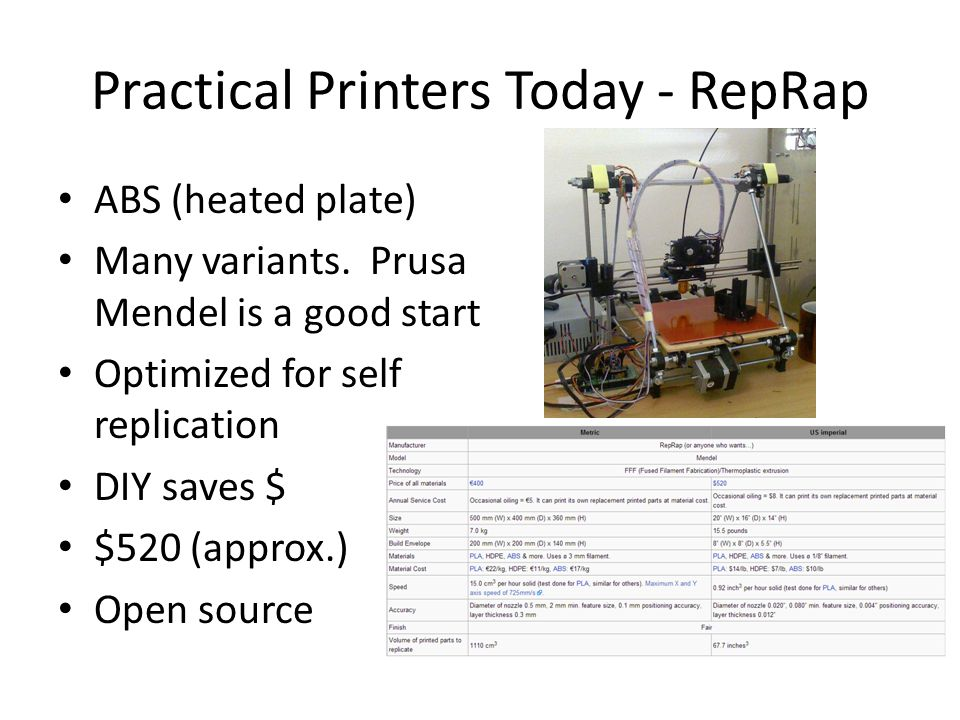 Practical Printers Today - RepRap ABS (heated plate) Many variants. Prusa Mendel is a good start Optimized for self replication DIY saves $ $520 (appr