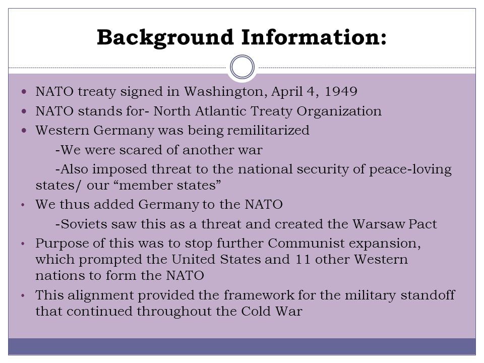 Questions What was the Cold War? -The Cold War was of political and military tension between powers in the Western Bloc (the United States with NATO a
