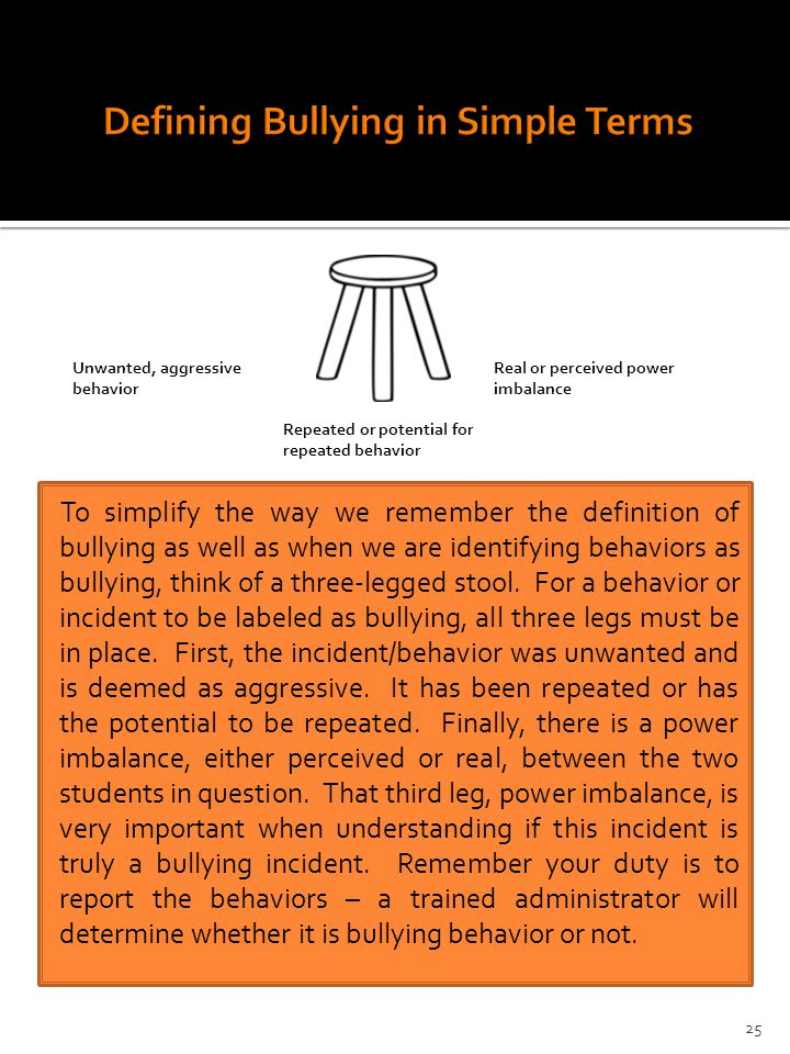 Unwanted, aggressive behavior Repeated or potential for repeated behavior Real or perceived power imbalance To simplify the way we remember the definition of bullying as well as when we are identifying behaviors as bullying, think of a three-legged stool.