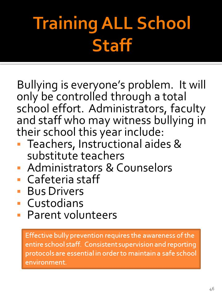Bullying is everyone's problem. It will only be controlled through a total school effort.