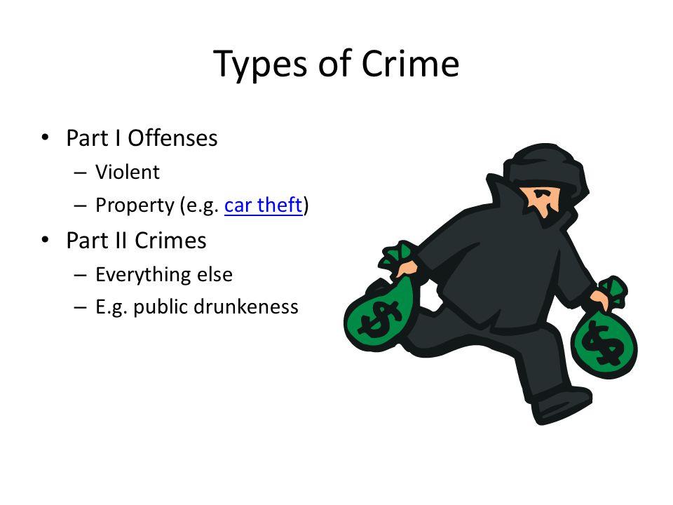 Types of Crime Part I Offenses – Violent – Property (e.g.