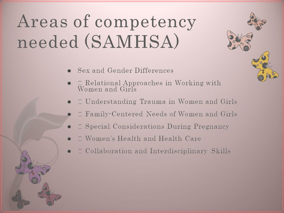 Areas of competency needed (SAMHSA)