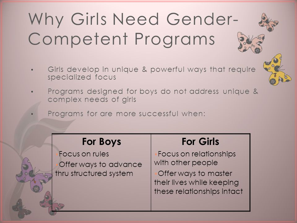 Why Girls Need Gender- Competent Programs For Boys Focus on rules Offer ways to advance thru structured system For Girls Focus on relationships with other people Offer ways to master their lives while keeping these relationships intact