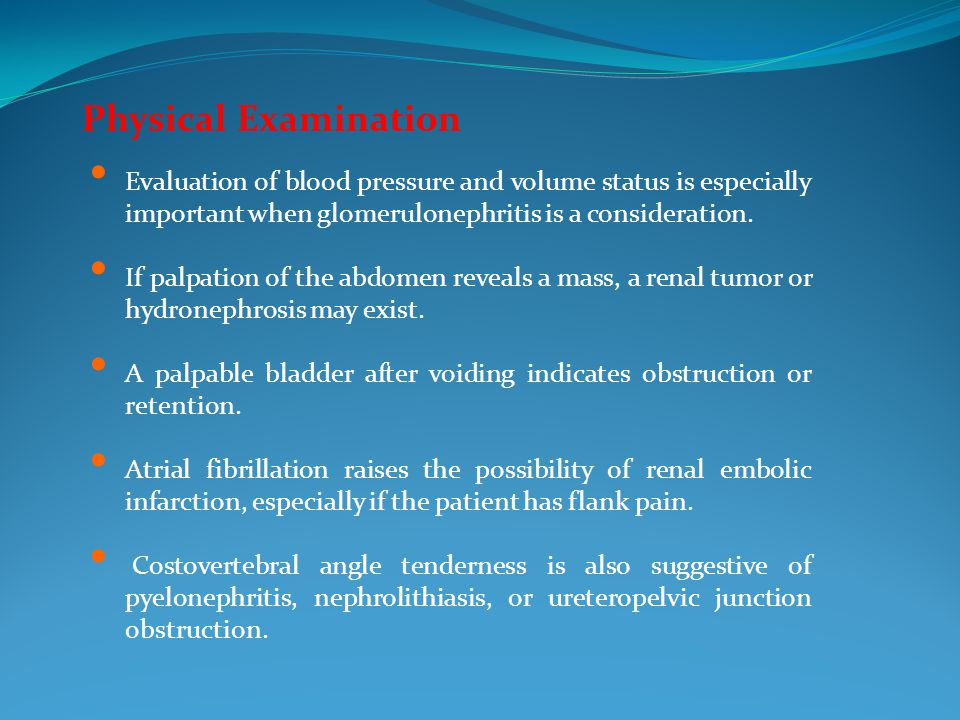 Evaluation of blood pressure and volume status is especially important when glomerulonephritis is a consideration.