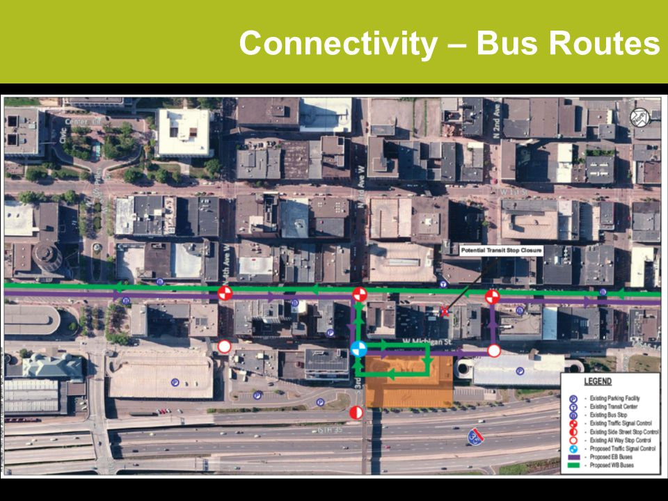 Connectivity – Bus Routes 2.4/2.0 fc 1.5/2.0 fc 0.4/2.0 fc 1.0/2.0 fc -Four-way Pedestrian Circulation and Controls -Ped Ramp & Landings at all corners.