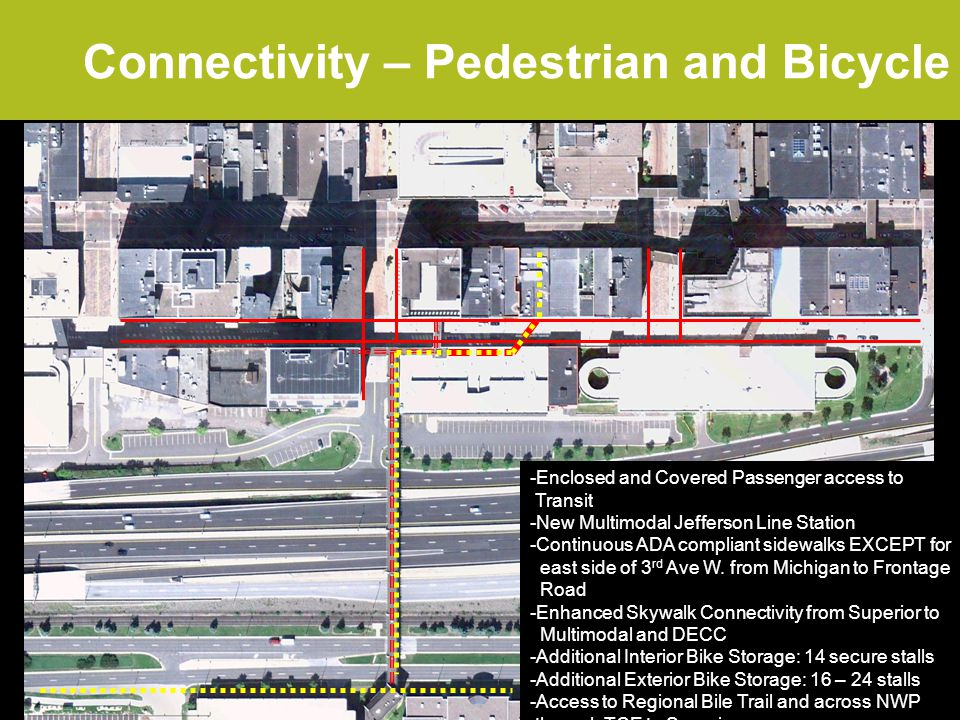 Connectivity – Pedestrian and Bicycle 2.4/2.0 fc 1.5/2.0 fc 0.4/2.0 fc 1.0/2.0 fc The site design shall provide connections to where adopted city plans show a bicycle or pedestrian path or trail or sidewalk.