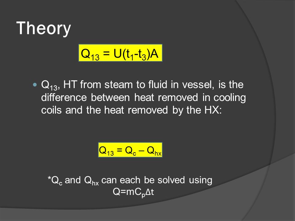 Theory Q 13 = U(t 1 -t 3 )A Q 13, HT from steam to fluid in vessel, is the difference between heat removed in cooling coils and the heat removed by the HX: Q 13 = Q c – Q hx *Q c and Q hx can each be solved using Q=mC p Δt
