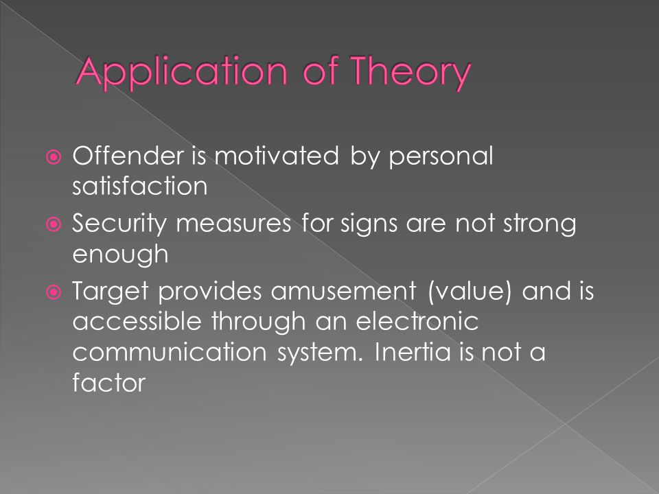  Offender is motivated by personal satisfaction  Security measures for signs are not strong enough  Target provides amusement (value) and is accessible through an electronic communication system.