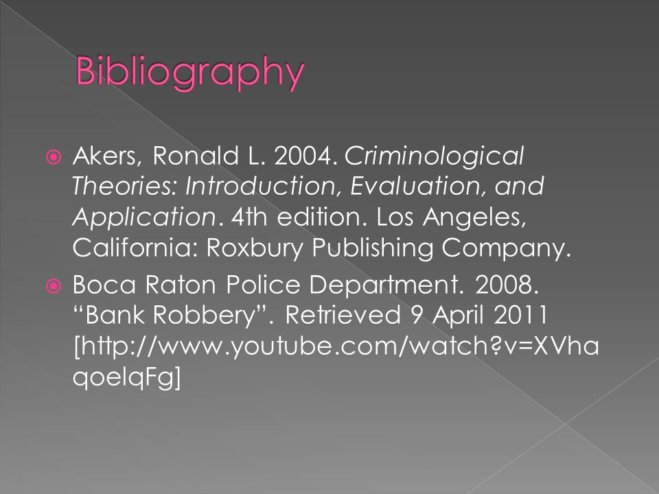 Akers, Ronald L.2004. Criminological Theories: Introduction, Evaluation, and Application.
