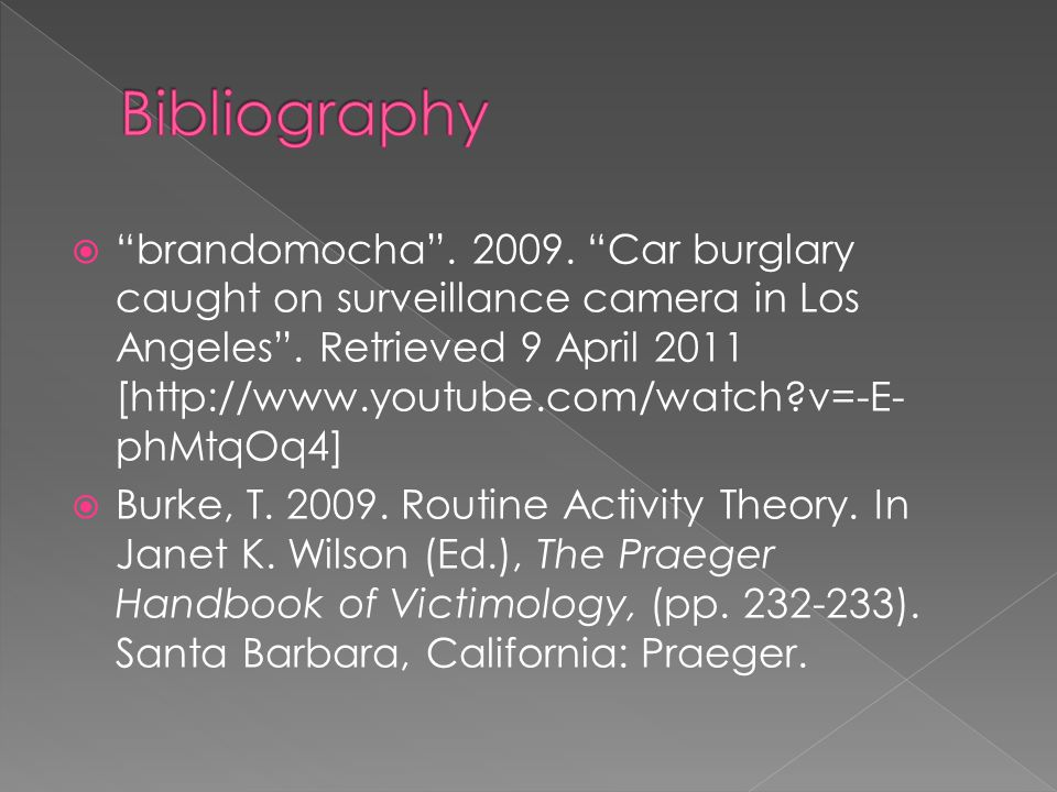  brandomocha . 2009. Car burglary caught on surveillance camera in Los Angeles .