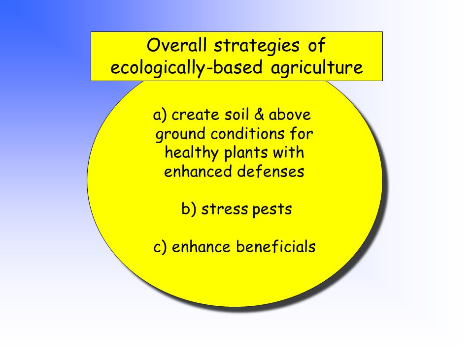 a) create soil & above ground conditions for healthy plants with enhanced defenses b) stress pests c) enhance beneficials a) create soil & above ground conditions for healthy plants with enhanced defenses b) stress pests c) enhance beneficials Overall strategies of ecologically-based agriculture