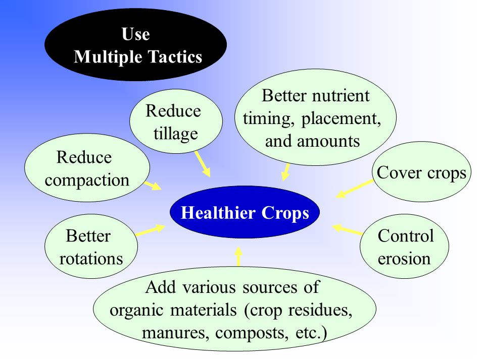 Healthier Crops Better rotations Reduce compaction Add various sources of organic materials (crop residues, manures, composts, etc.) Cover crops Reduce tillage Control erosion Better nutrient timing, placement, and amounts Use Multiple Tactics