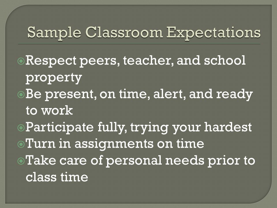  Respect peers, teacher, and school property  Be present, on time, alert, and ready to work  Participate fully, trying your hardest  Turn in assig