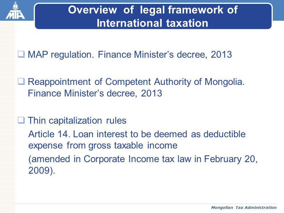 Mongolian Tax Administration  MAP regulation.