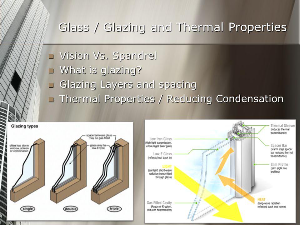 Glass / Glazing and Thermal Properties Vision Vs. Spandrel Vision Vs.