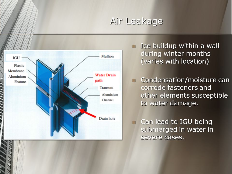 Air Leakage Ice buildup within a wall during winter months (varies with location) Ice buildup within a wall during winter months (varies with location) Condensation/moisture can corrode fasteners and other elements susceptible to water damage.