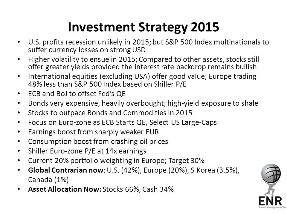 Investment Strategy 2015 U.S. profits recession unlikely in 2015; but S&P 500 Index multinationals to suffer currency losses on strong USD Higher vola