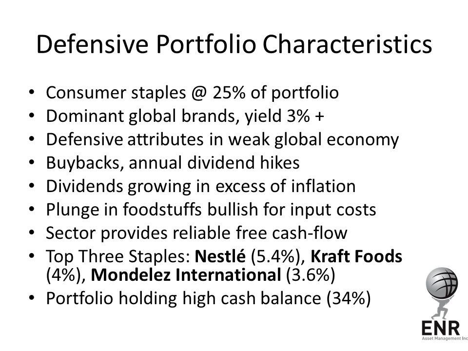 Defensive Portfolio Characteristics Consumer staples @ 25% of portfolio Dominant global brands, yield 3% + Defensive attributes in weak global economy