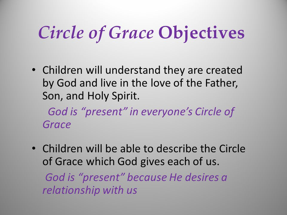 Circle of Grace Objectives Children will understand they are created by God and live in the love of the Father, Son, and Holy Spirit.