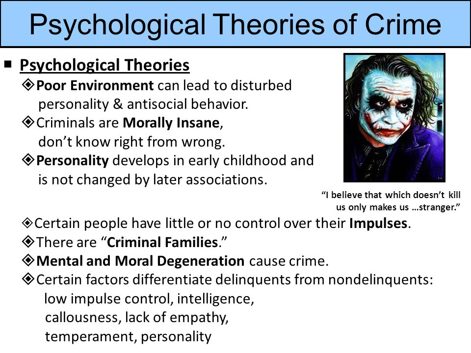 Psychological Theories of Crime  Psychological Theories  Poor Environment can lead to disturbed personality & antisocial behavior.
