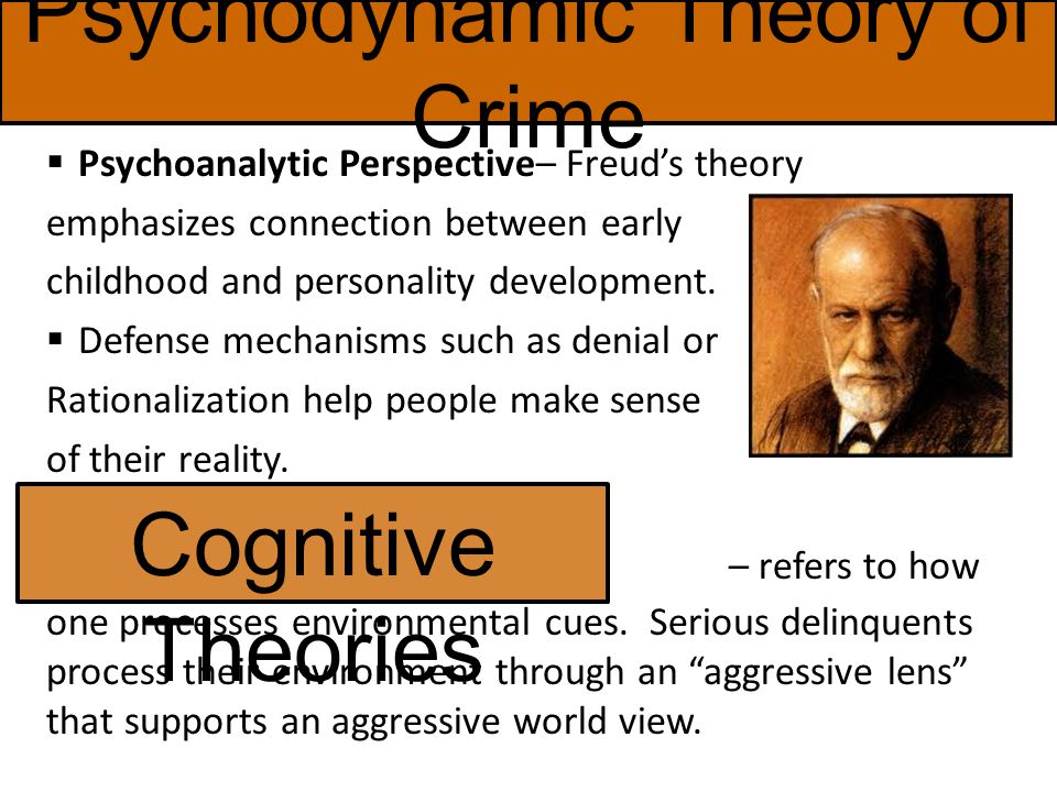 Psychodynamic Theory of Crime  Psychoanalytic Perspective– Freud's theory emphasizes connection between early childhood and personality development.