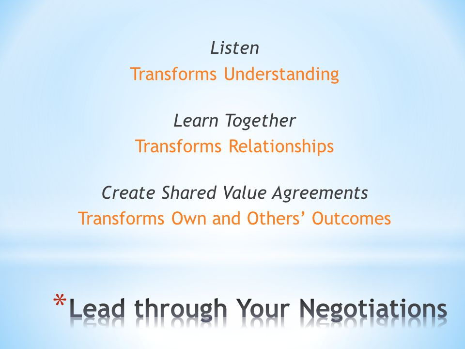 Listen Transforms Understanding Learn Together Transforms Relationships Create Shared Value Agreements Transforms Own and Others' Outcomes
