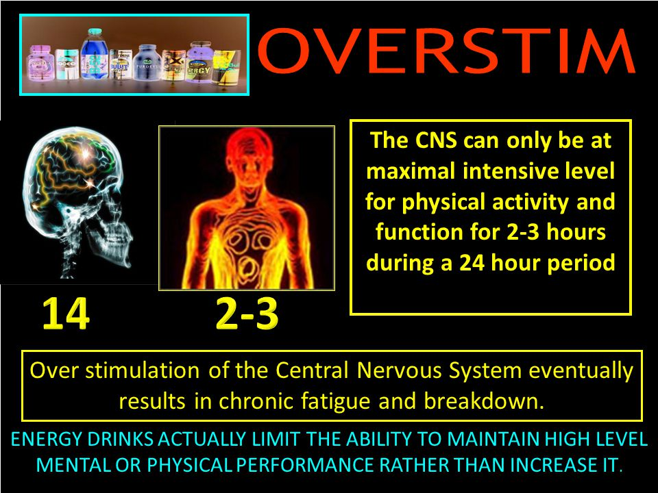 The CNS can only be at maximal intensive level for physical activity and function for 2-3 hours during a 24 hour period Over stimulation of the Central Nervous System eventually results in chronic fatigue and breakdown.