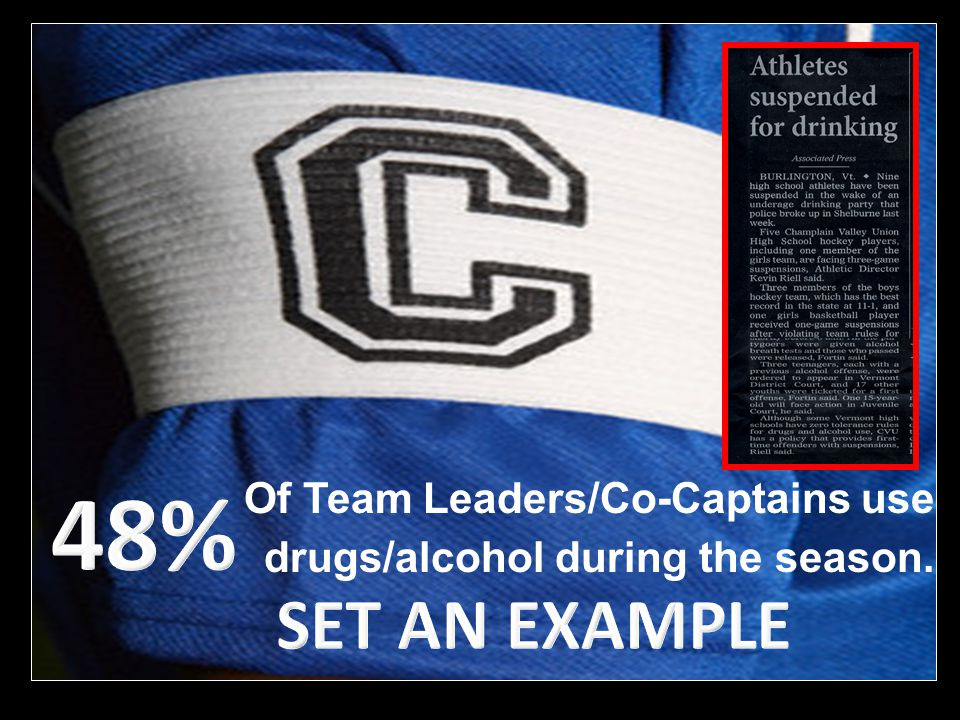 Of Team Leaders/Co-Captains use drugs/alcohol during the season.