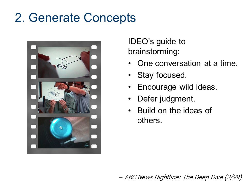 2.Generate Concepts IDEO's guide to brainstorming: One conversation at a time.