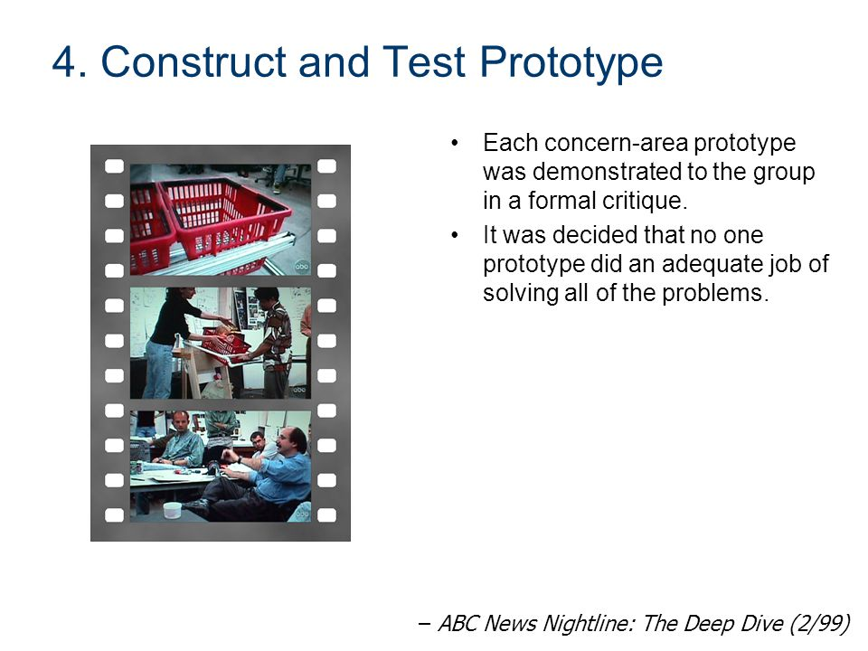 4. Construct and Test Prototype Each concern-area prototype was demonstrated to the group in a formal critique. It was decided that no one prototype d