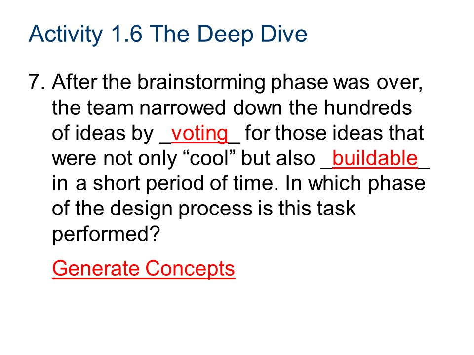 Activity 1.6 The Deep Dive 7.After the brainstorming phase was over, the team narrowed down the hundreds of ideas by _voting_ for those ideas that were not only cool but also _buildable_ in a short period of time.