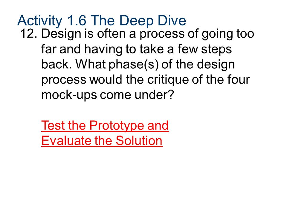 Activity 1.6 The Deep Dive 12.Design is often a process of going too far and having to take a few steps back.