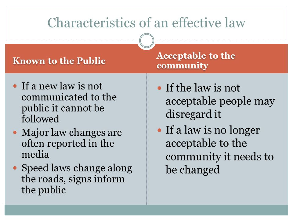 Known to the Public Acceptable to the community If a new law is not communicated to the public it cannot be followed Major law changes are often repor