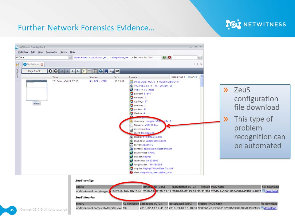 Copyright 2010 © All rights reserved. NetWitness Corporation | Proprietary 45 Further Network Forensics Evidence… » ZeuS configuration file download »