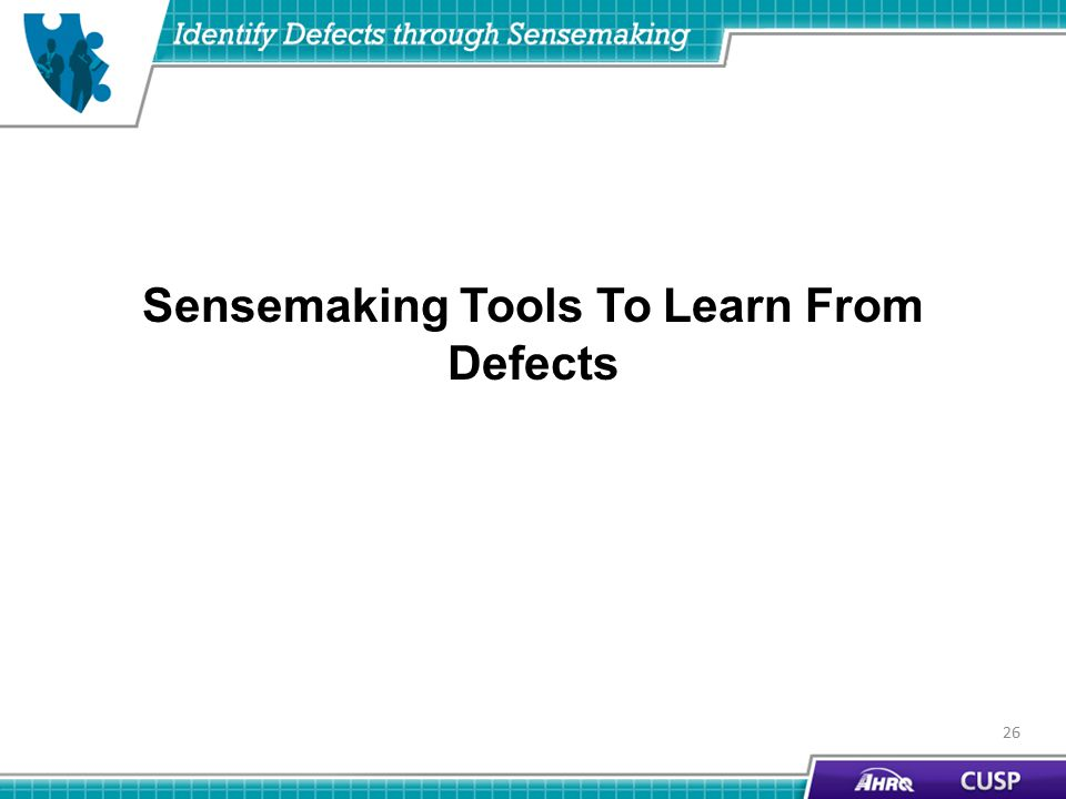 Sensemaking Tools To Learn From Defects 26