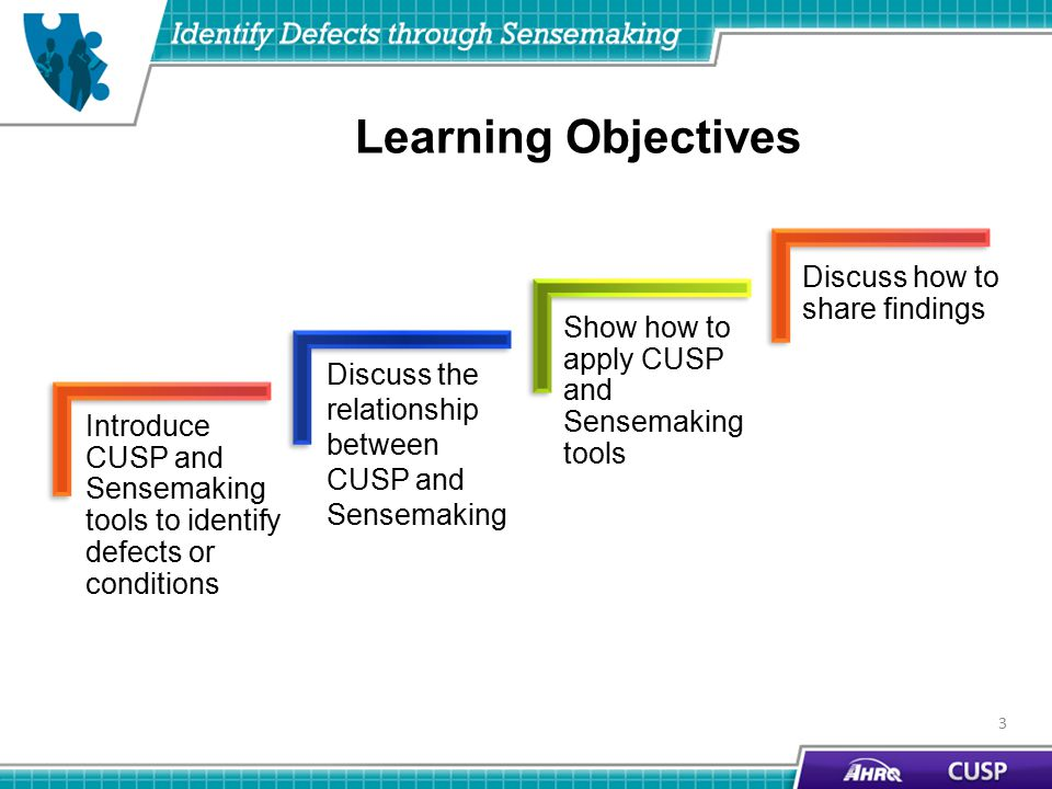 3 Learning Objectives Discuss how to share findings Discuss the relationship between CUSP and Sensemaking Introduce CUSP and Sensemaking tools to identify defects or conditions Show how to apply CUSP and Sensemaking tools