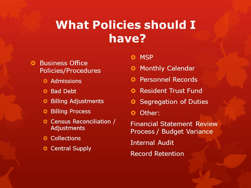 What Policies should I have.