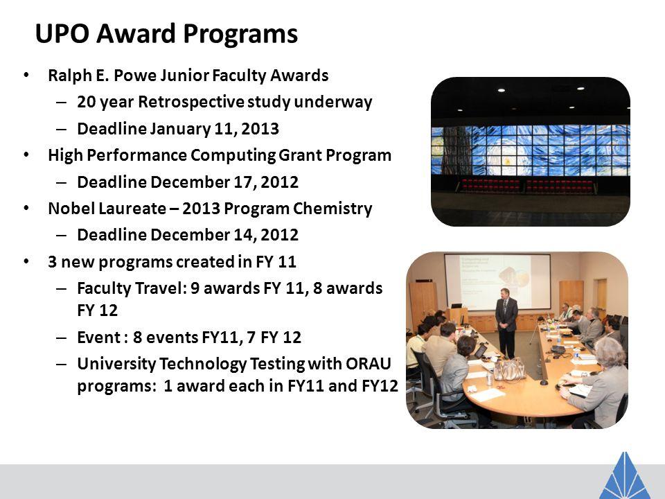 UPO Award Programs Ralph E. Powe Junior Faculty Awards – 20 year Retrospective study underway – Deadline January 11, 2013 High Performance Computing G