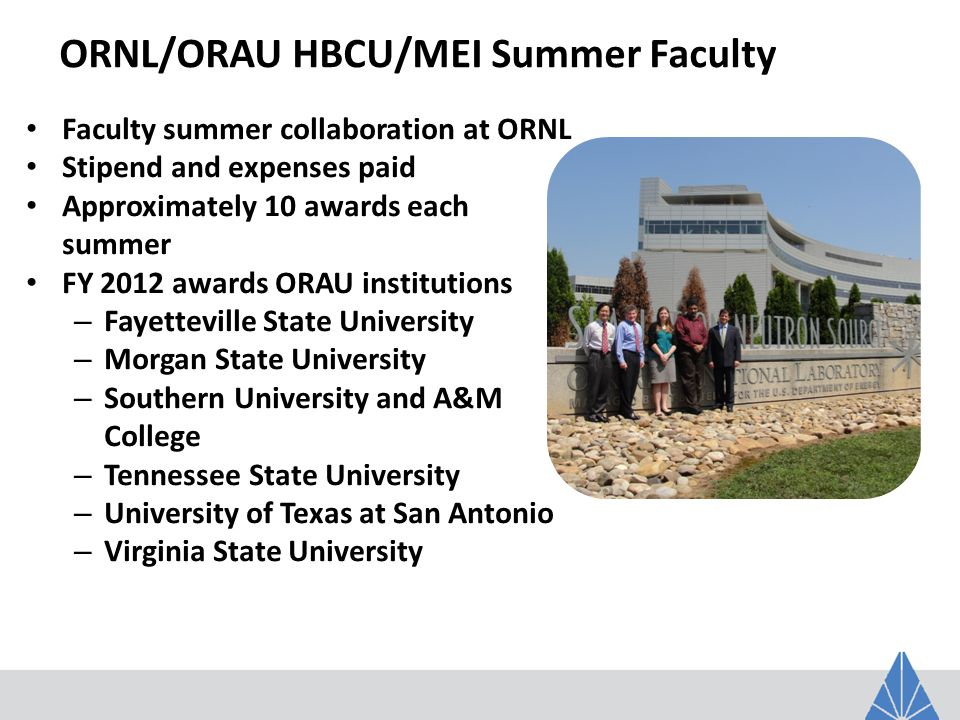 ORNL/ORAU HBCU/MEI Summer Faculty Faculty summer collaboration at ORNL Stipend and expenses paid Approximately 10 awards each summer FY 2012 awards ORAU institutions – Fayetteville State University – Morgan State University – Southern University and A&M College – Tennessee State University – University of Texas at San Antonio – Virginia State University