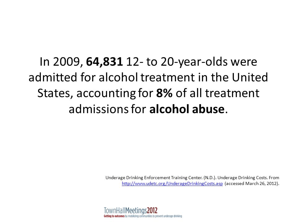 In 2009, 64,831 12- to 20-year-olds were admitted for alcohol treatment in the United States, accounting for 8% of all treatment admissions for alcohol abuse.