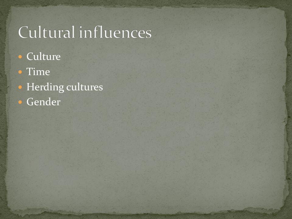 Culture Time Herding cultures Gender