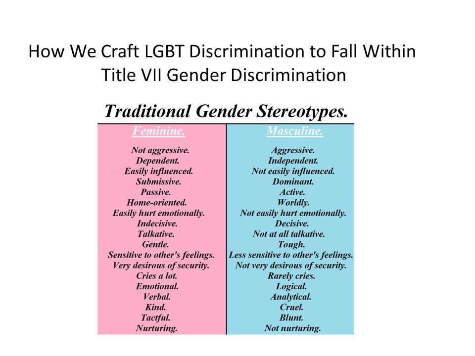 How We Craft LGBT Discrimination to Fall Within Title VII Gender Discrimination