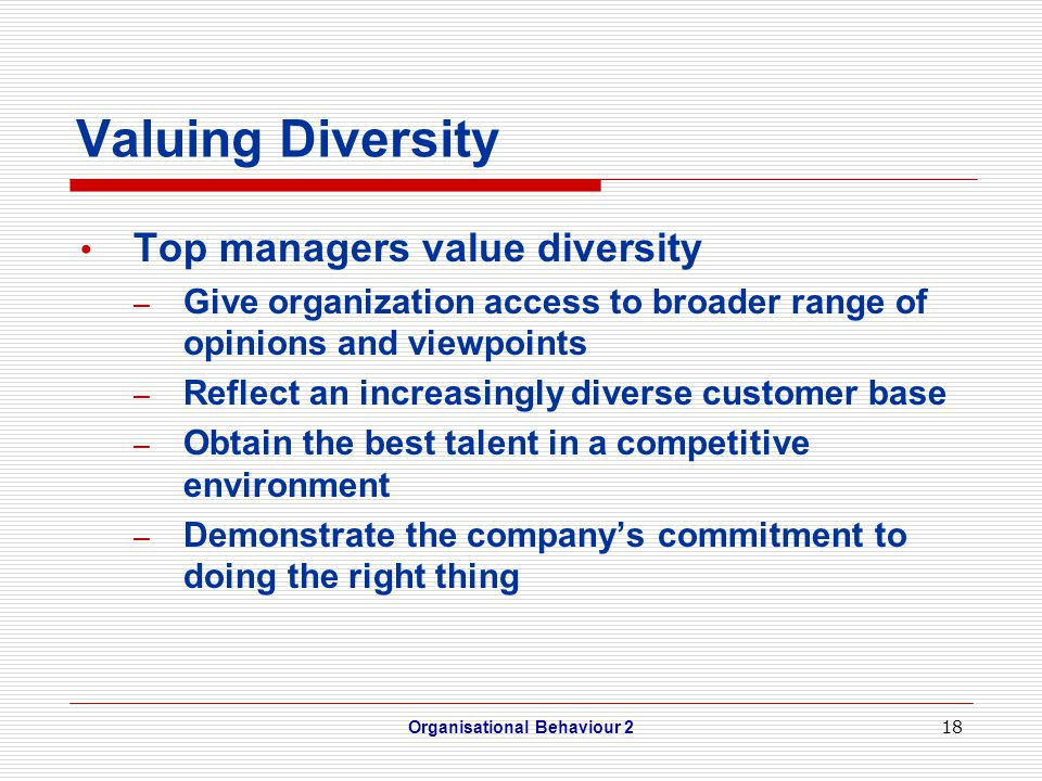 18 Valuing Diversity Top managers value diversity – Give organization access to broader range of opinions and viewpoints – Reflect an increasingly diverse customer base – Obtain the best talent in a competitive environment – Demonstrate the company's commitment to doing the right thing Organisational Behaviour 2