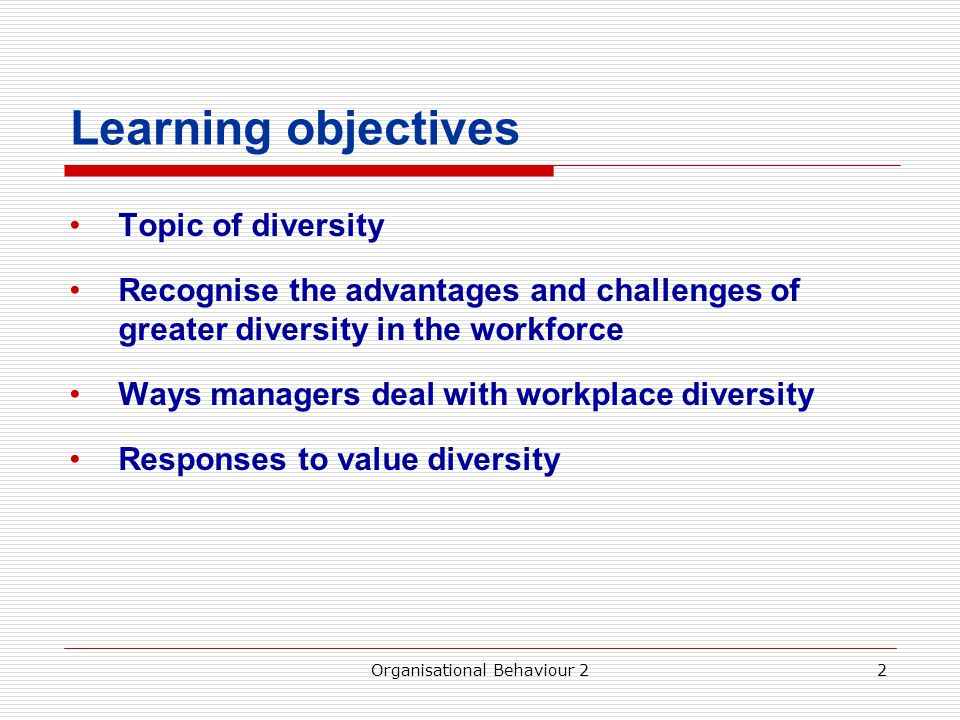 13 Diversity Initiatives Recruitment – Examine employee demographics – Examine composition of the labour pool in the area – Examine composition of the customer base Career Advancement – Eliminate the glass ceiling – Accomplish mentoring relationships Organisational Behaviour 2