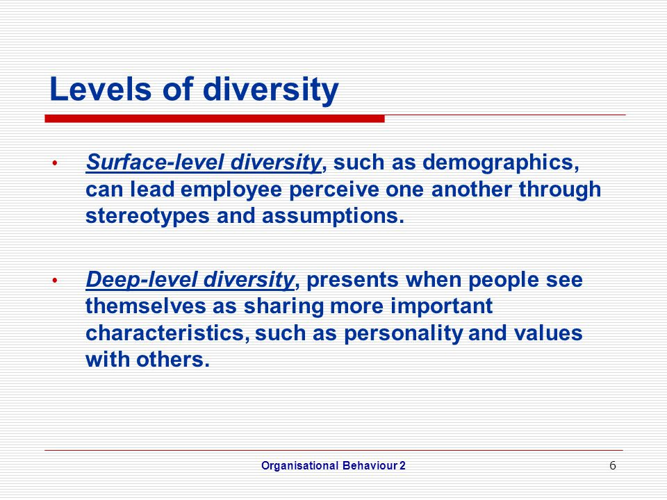 7 Attitudes toward Diversity Ethnocentrism = belief that one's own group or subculture is inherently superior to other groups or cultures Enthnorelativism = belief that groups and subcultures are inherently equal Pluralism = an organisation accommodates several subcultures Organisational Behaviour 2