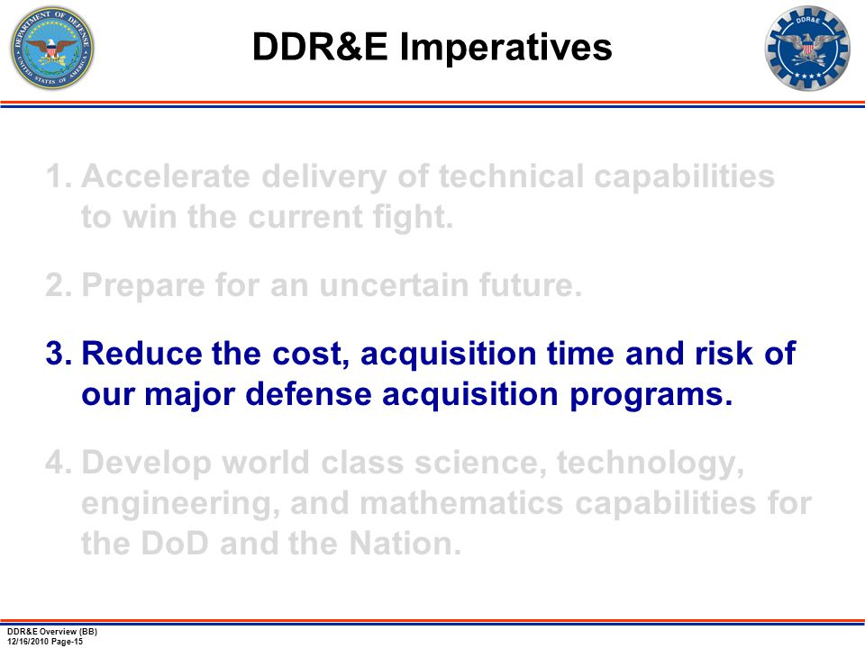 DDR&E Overview (BB) 12/16/2010 Page-15 1.Accelerate delivery of technical capabilities to win the current fight.