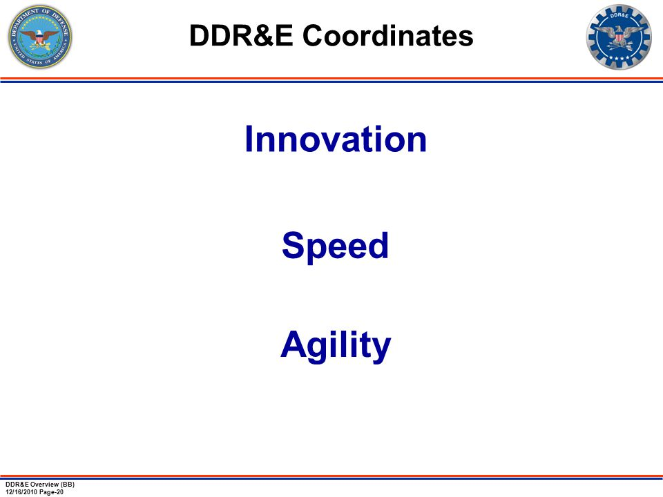 DDR&E Overview (BB) 12/16/2010 Page-20 DDR&E Coordinates Innovation Speed Agility