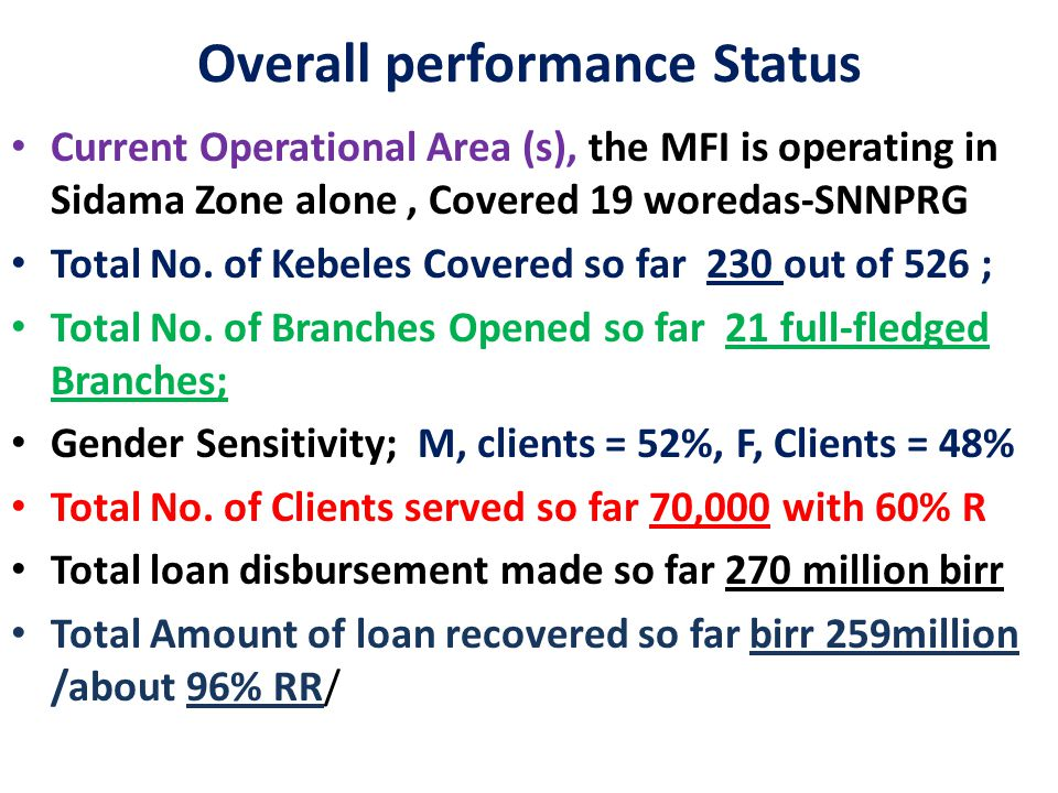 Overall performance Status Current Operational Area (s), the MFI is operating in Sidama Zone alone, Covered 19 woredas-SNNPRG Total No.