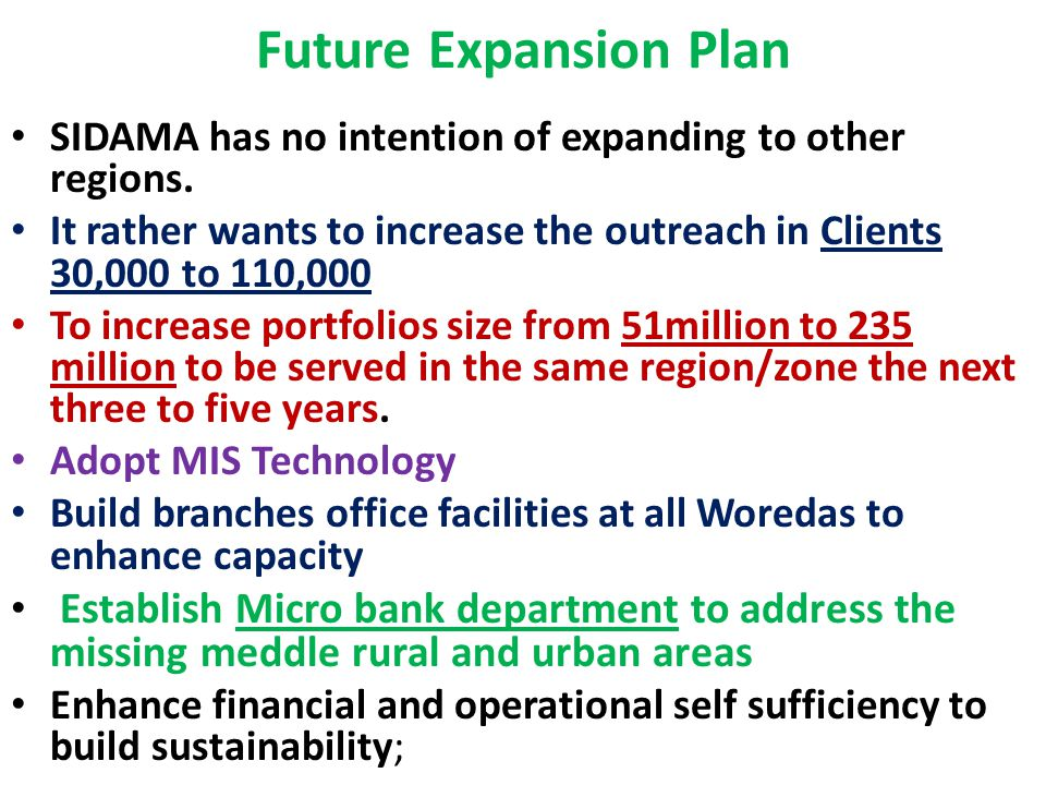 Future Expansion Plan SIDAMA has no intention of expanding to other regions.
